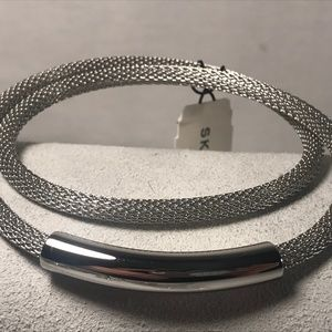 Skagen Mesh Double Wrap Bracelet Silvertone